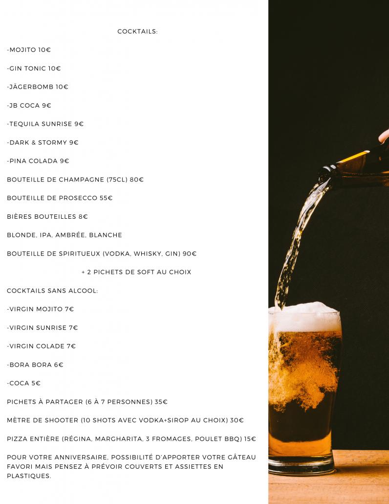 carte des boissons servie au vik karaoké box